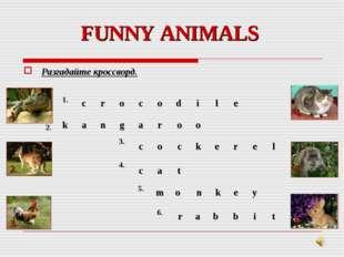FUNNY ANIMALS Разгадайте кроссворд. 1. 3. 2. 4. 5. 6. 2. 1.