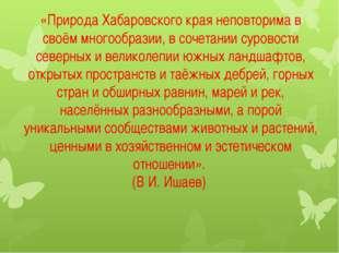 «Природа Хабаровского края неповторима в своём многообразии, в сочетании суро
