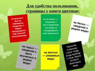 Для удобства пользования, страницы у книги цветные: на красных листах помеще