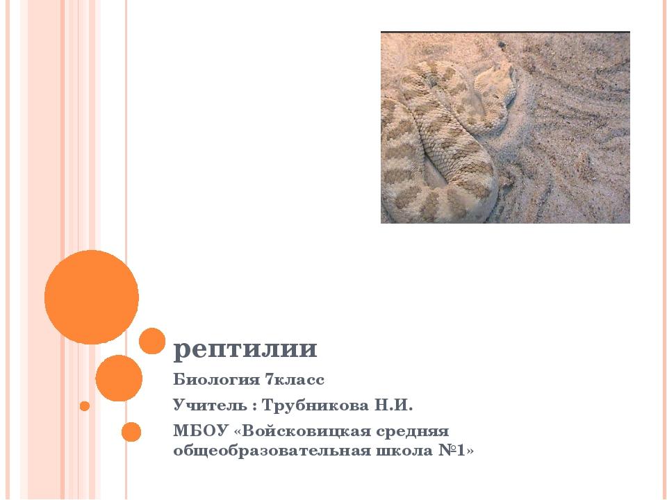 рептилии Биология 7класс Учитель : Трубникова Н.И. МБОУ «Войсковицкая средняя...