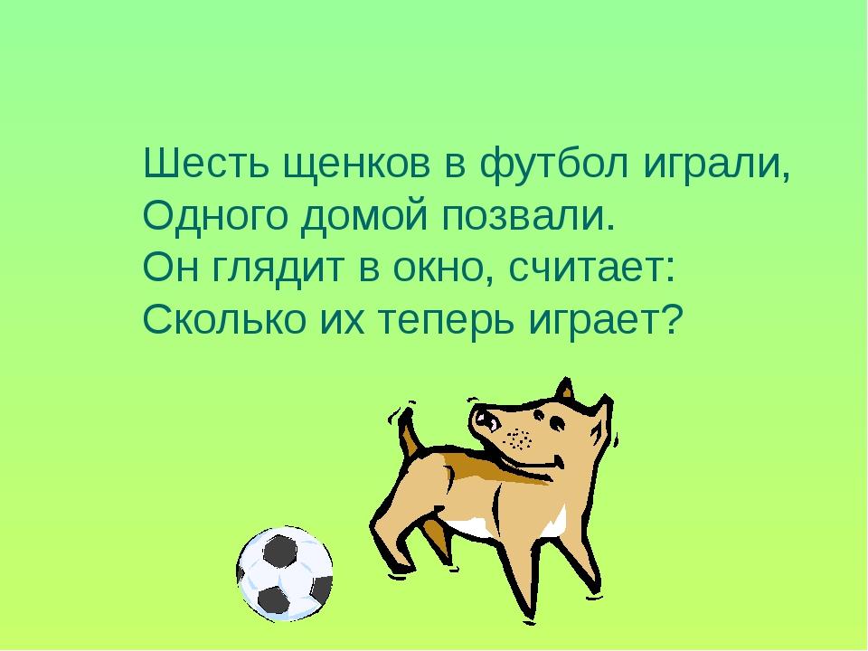 Шесть щенков в футбол играли, Одного домой позвали. Он глядит в окно, считает...