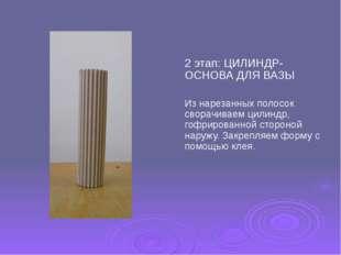 2 этап: ЦИЛИНДР- ОСНОВА ДЛЯ ВАЗЫ Из нарезанных полосок сворачиваем цилиндр, г