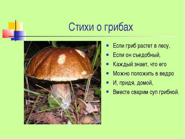 Стихи о грибах Если гриб растет в лесу, Если он съедобный, Каждый знает, что...