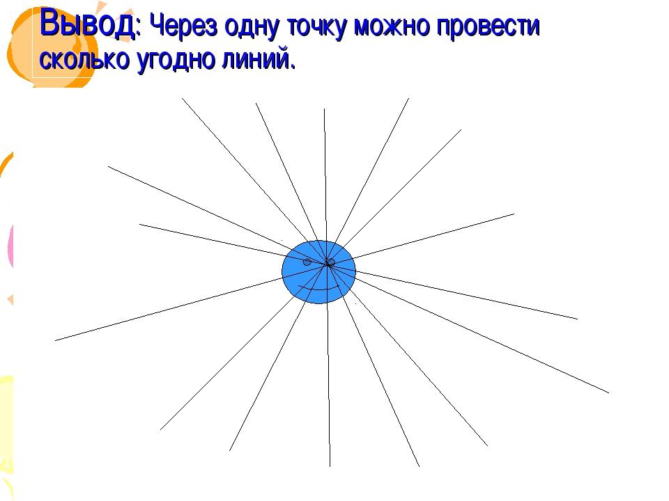 Вывод: Через одну точку можно провести сколько угодно линий.