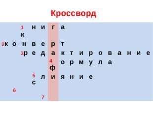 Кроссворд 1к н и г а 2к о н в е р т 3р е д а к т и р о в а н и е 4ф о р м у л