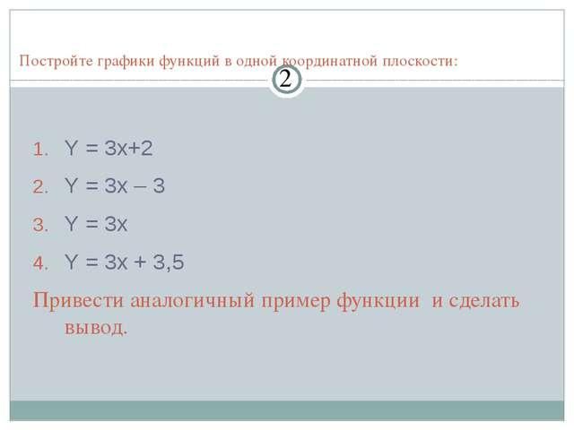 Y = 3x+2 Y = 3x – 3 Y = 3x Y = 3x + 3,5 Привести аналогичный пример функции и...