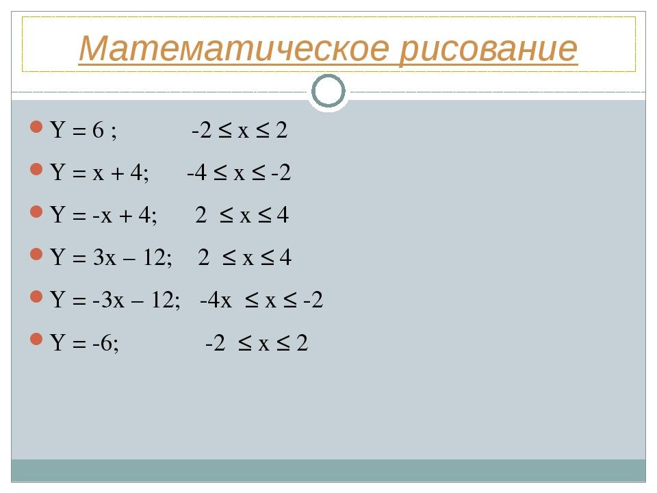Математическое рисование Y = 6 ; -2 ≤ x ≤ 2 Y = x + 4; -4 ≤ x ≤ -2 Y = -x + 4...