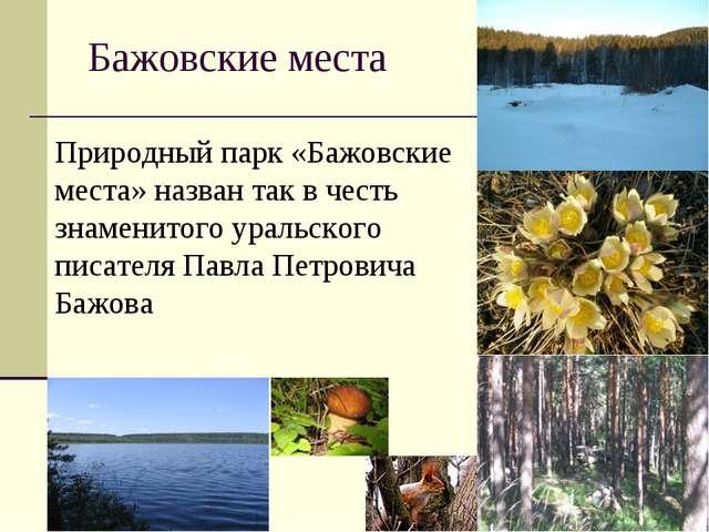 Бажовские места Природный парк «Бажовские места» назван так в честь знаменито...
