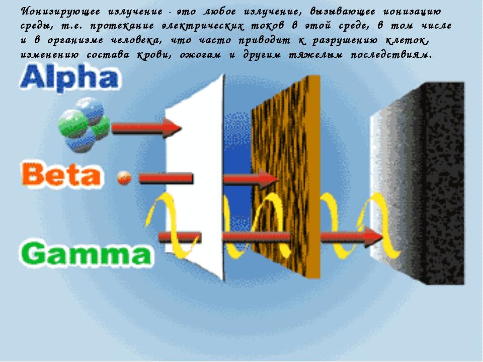 Ионизирующее излучение - это любое излучение, вызывающее ионизацию среды, т.е...