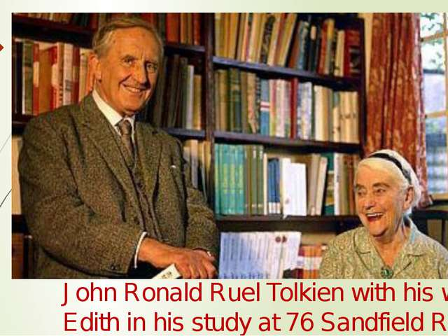 John Ronald Ruel Tolkien with his wife Edith in his study at 76 Sandfield Roa...