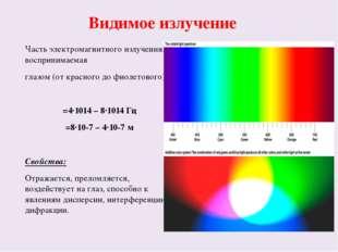 Видимое излучение Часть электромагнитного излучения, воспринимаемая глазом (о