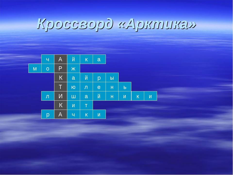 Кроссворд «Арктика» ч А й к а о м Р ж а К р й Т н ю л ы е ь И К А а ш т и и к...