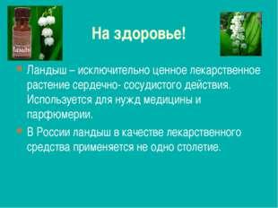 На здоровье! Ландыш – исключительно ценное лекарственное растение сердечно- с