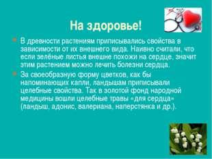 На здоровье! В древности растениям приписывались свойства в зависимости от их