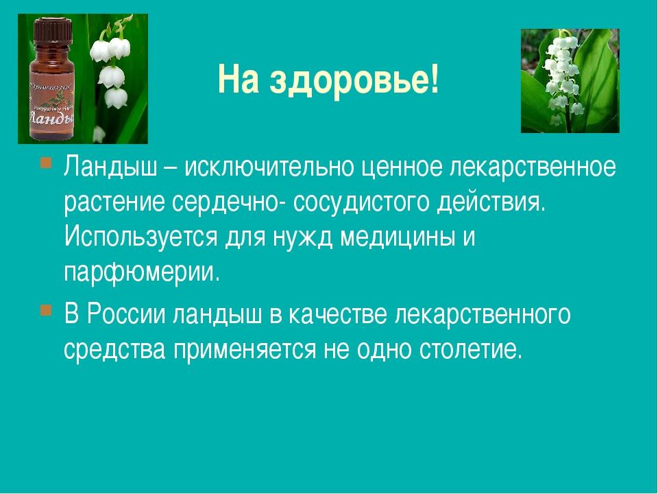 На здоровье! Ландыш – исключительно ценное лекарственное растение сердечно- с...
