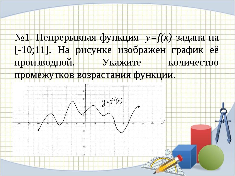 №1. Непрерывная функция y=f(x) задана на [-10;11]. На рисунке изображен графи...
