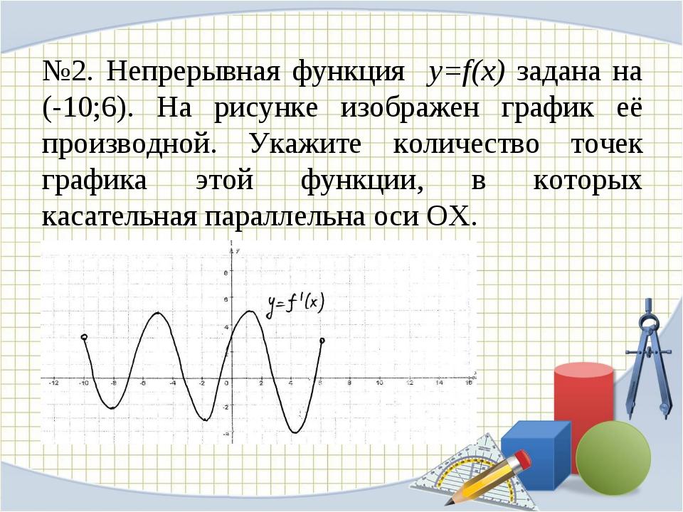 №2. Непрерывная функция y=f(x) задана на (-10;6). На рисунке изображен график...
