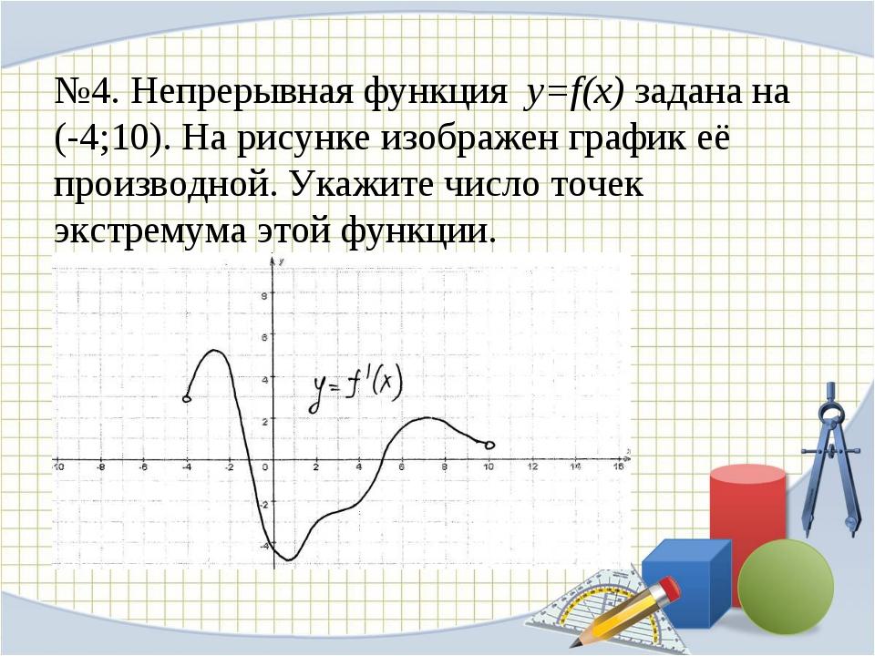 №4. Непрерывная функция y=f(x) задана на (-4;10). На рисунке изображен график...