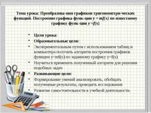 Тема урока: Преобразования графиков тригонометрических функций. Построение