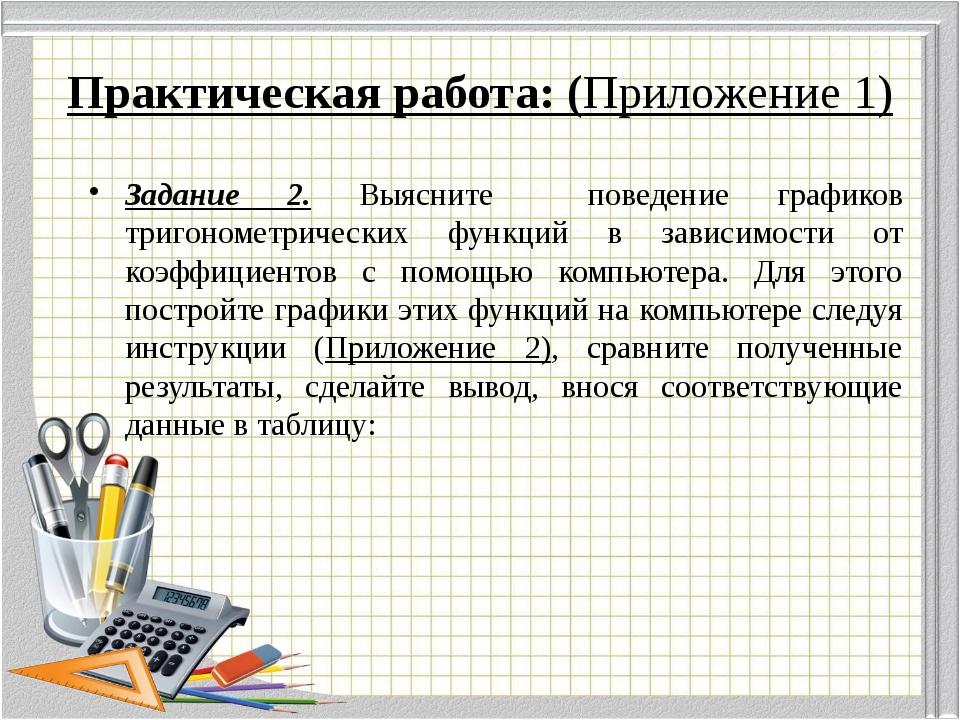 Практическая работа: (Приложение 1) Задание 2. Выясните поведение графиков тр...
