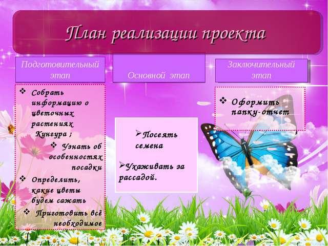 Подготовительный этап Собрать информацию о цветочных растениях  Кунгура ; Уз...