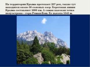 На территории Крыма протекает 257 рек, также тут находится около 50 соленых о
