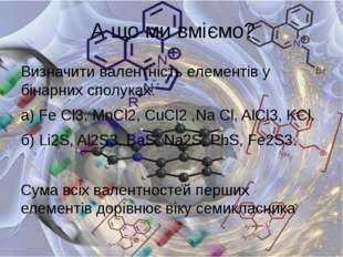 Визначити валентність елементів у бінарних сполуках: а) Fe Cl3,MnCl2, CuCl2