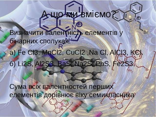 Визначити валентність елементів у бінарних сполуках: а) Fe Cl3,MnCl2, CuCl2...