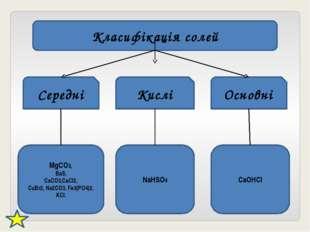 Класифікація солей Середні Кислі Основні MgCO3, BaS, CaCO3,CaCl2, CuBr2, Na2C