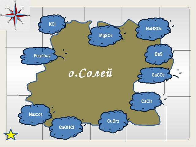 о.Солей KCl MgSO4 NaHSO4 BaS CaCO3 CaCl2 CuBr2 CaOHCl Na2CO3 Fe3(PO4)2