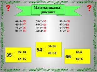 Математикалық диктант 64+5= 55+2= 56+2= 42+5= 64+2= 85-2= 78-2= 47-6= 94+5= 9