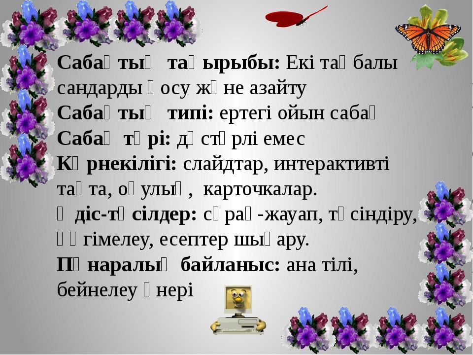Сабақтың тақырыбы: Екі таңбалы сандарды қосу және азайту Сабақтың типі: ертег...