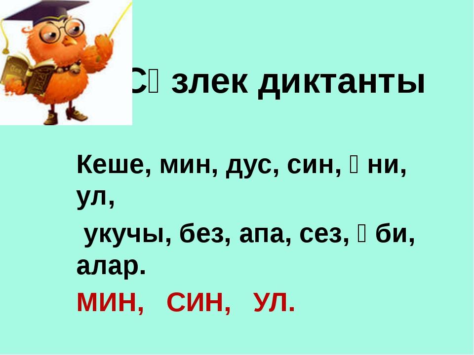 Сүзлек диктанты Кеше, мин, дус, син, әни, ул, укучы, без, апа, сез, әби, алар...