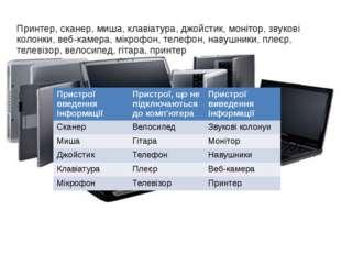 Принтер, сканер, миша, клавіатура, джойстик, монітор, звукові колонки, веб-ка