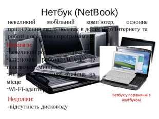 Нетбук (NetBook) невеликий мобільний комп'ютер, основне призначення якого пол