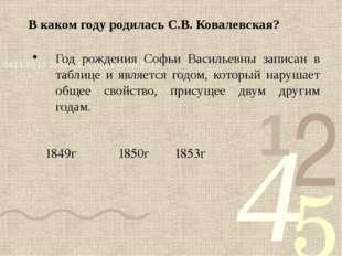 В каком году родилась С.В. Ковалевская? Год рождения Софьи Васильевны записан