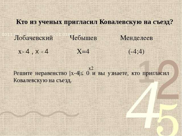Кто из ученых пригласил Ковалевскую на съезд? Решите неравенство |х-4|≤ 0 и...
