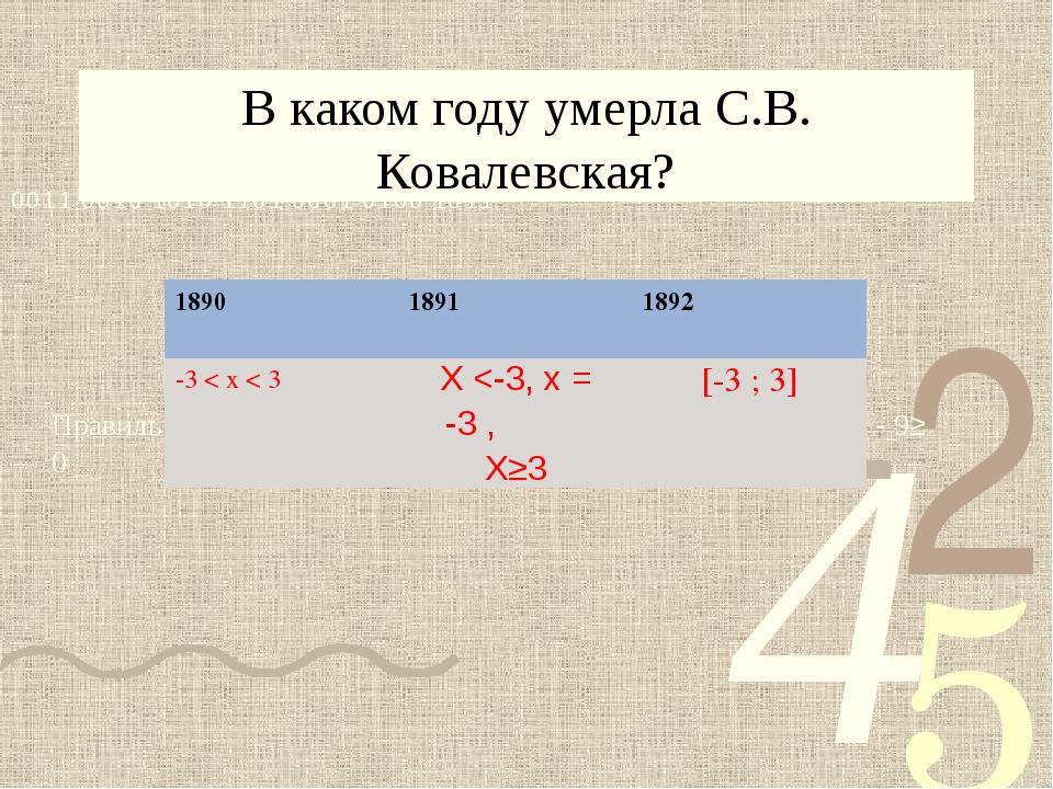 В каком году умерла С.В. Ковалевская? Правильному ответу соответствует решени...