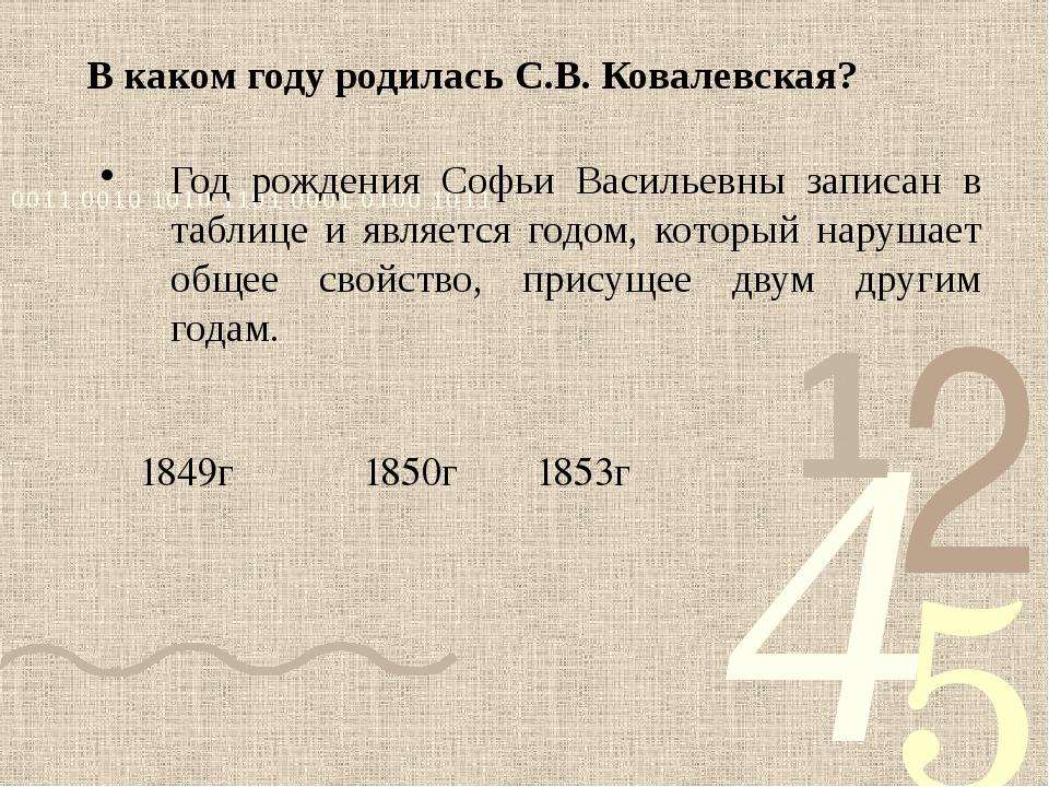 В каком году родилась С.В. Ковалевская? Год рождения Софьи Васильевны записан...