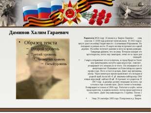 Даминов Халим Гараевич Родился в 1924 году 16 июня в д. Бакрче Окончил семь