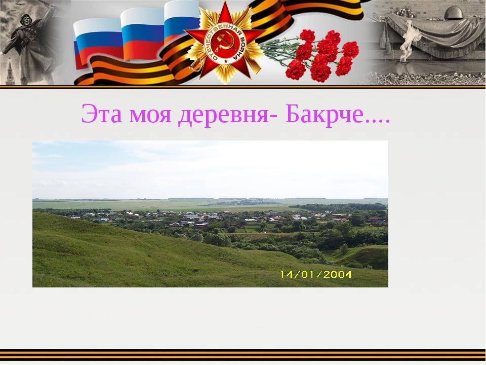 Эта моя деревня- Бакрче.... .