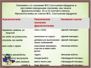 Знакомясь со сказками М.Е.Салтыкова-Щедрина и русскими народными сказками, м