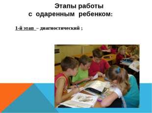 Этапы работы с одаренным ребенком: 1-й этап – диагностический ;