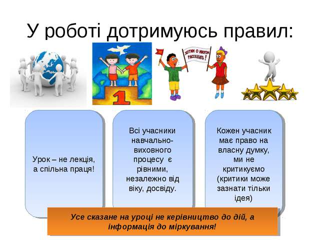 У роботі дотримуюсь правил: Урок – не лекція, а спільна праця! Всі учасники н...