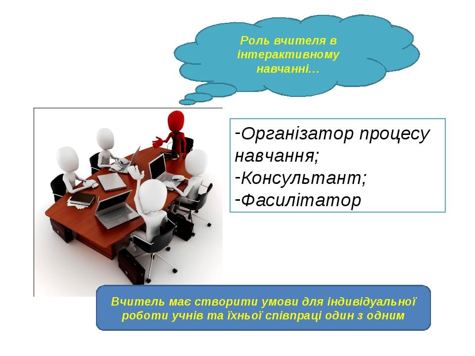 Роль вчителя в інтерактивному навчанні… Організатор процесу навчання; Консуль...