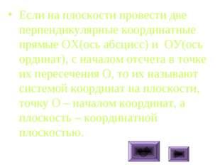Если на плоскости провести две перпендикулярные координатные прямые ОХ(ось аб
