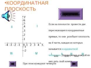 КООРДИНАТНАЯ ПЛОСКОСТЬ ЩЕЛКНИ МЫШКОЙ Определение Если на плоскости провести д