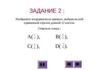 ЗАДАНИЕ 2 : A( ), B( ), C( ), D( ). Изобразите координатную прямую, выбра
