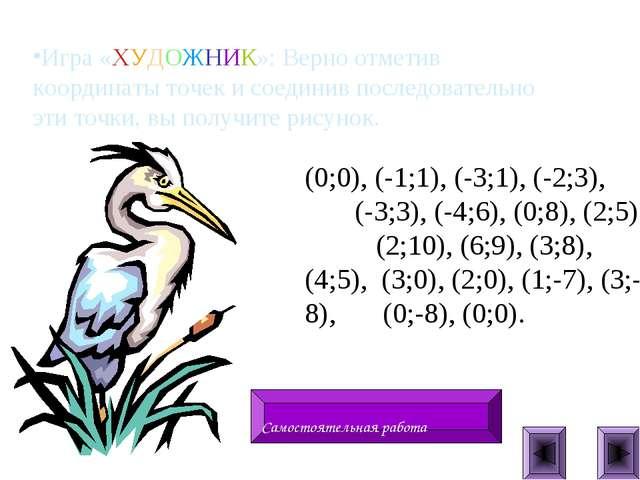 Игра «ХУДОЖНИК»: Верно отметив координаты точек и соединив последовательно эт...