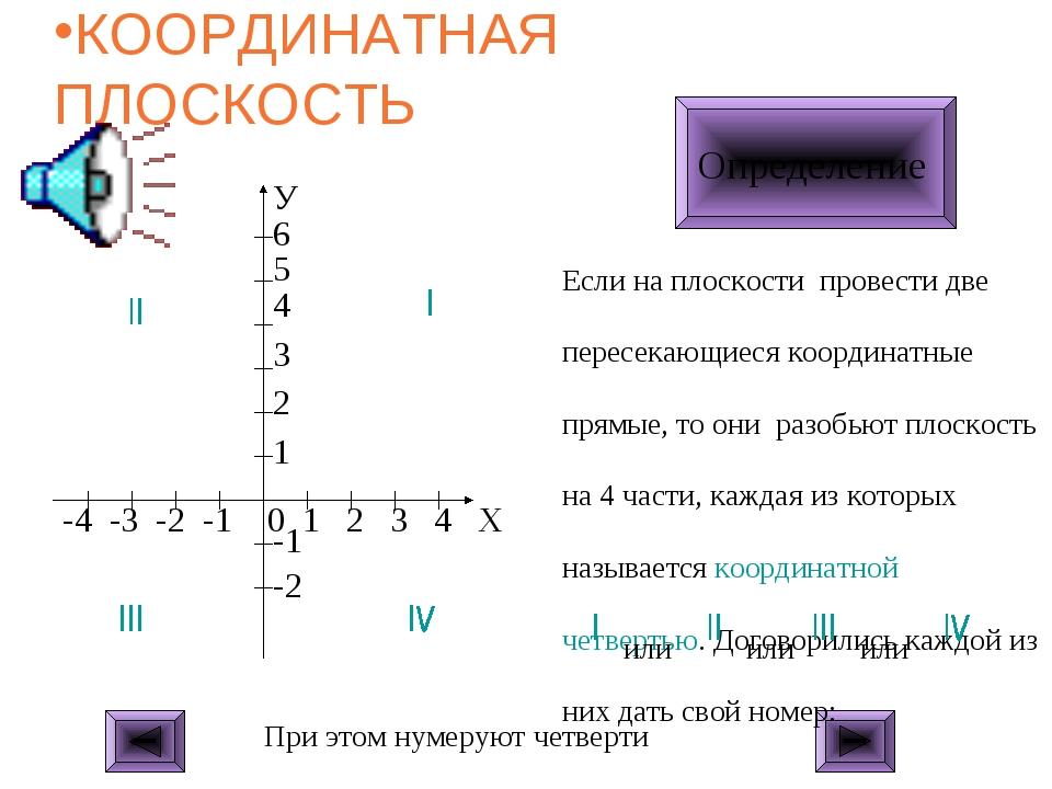 КООРДИНАТНАЯ ПЛОСКОСТЬ ЩЕЛКНИ МЫШКОЙ Определение Если на плоскости провести д...
